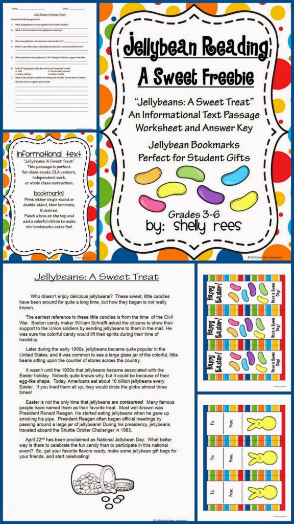 Easter reading freebie jellybeans a sweet treat appletastic please share this easter gift with all your teacher friends negle Images