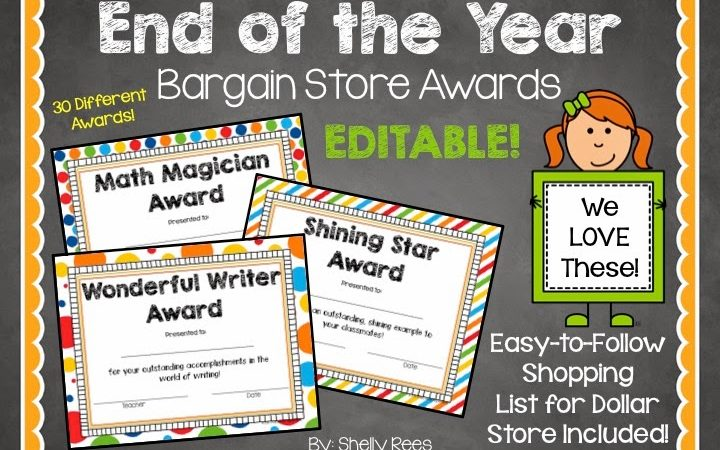 End of the Year Award Certificates – Dollar Store Style!