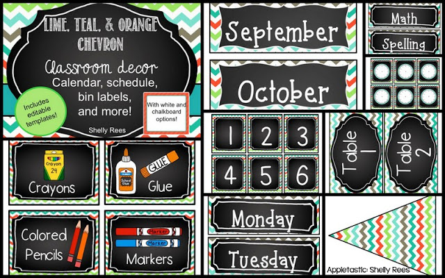 Chalkboard and Chevron Classroom Theme Decorations