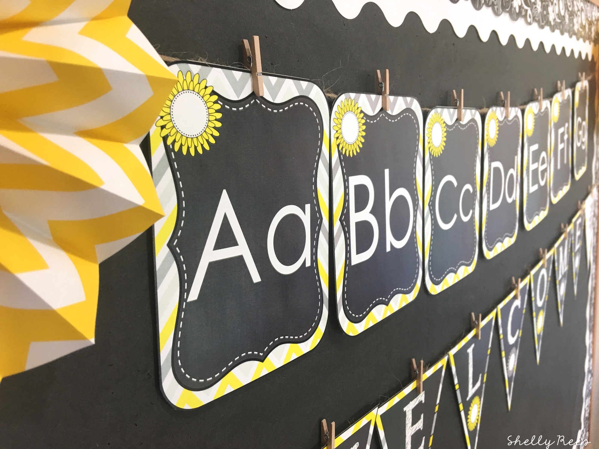 ABC wall with classroom decor theme
