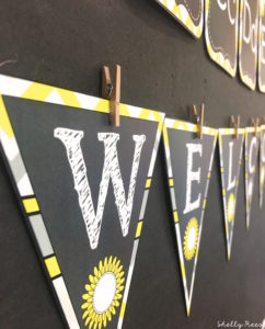 Gray and Yellow Classroom Theme Welcome Banner