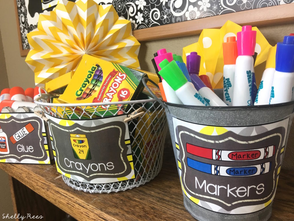 organization using gray and yellow decor theme