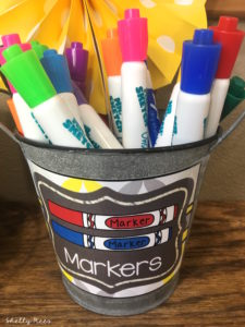 markets in container with label from gray and yellow classroom decor theme