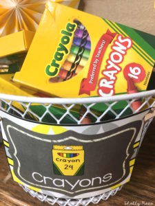 crayons in gray and yellow classroom decor theme