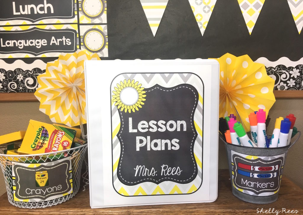 Lesson Plan Binder in Daisies and Sunshine Chalkboard Classroom Decor Theme