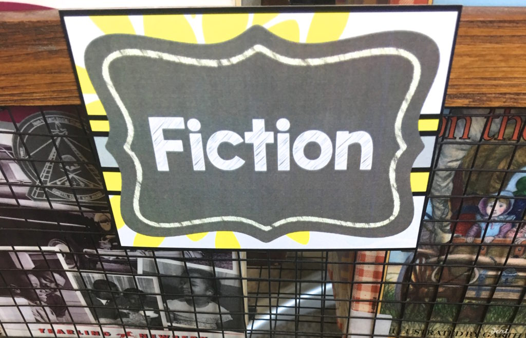 Fiction Book Basket or Library Tag in the Gray and Yellow Classroom Theme Decor Kit