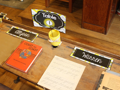 Gray and Yellow Classroom Theme Table Numbers