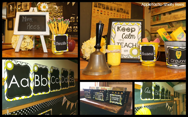 The Color Palette Of This Clroom Decor Packet Consists Sunny Yellows Light And Dark Gray White Chalkboard Black