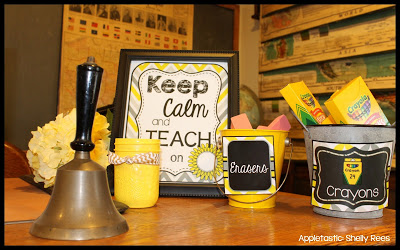 Gray and Yellow Classroom Theme Decoration Kit
