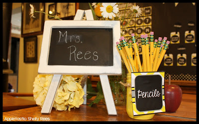 gray and yellow classroom decor theme - teacher sign on desk {Mrs. Rees}