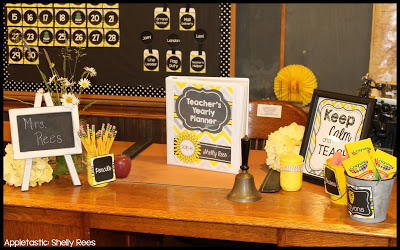 Teacher Desk with the Gray and Yellow Classroom Decor