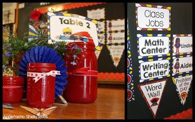 Superhero Themed Classroom Table Cards