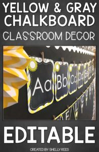 Yellow & Gray Chalkboard Classroom Decor - EDITABLE!