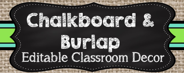 Classroom Decor Reveal #2: Chalkboard and Burlap Classroom Decor!