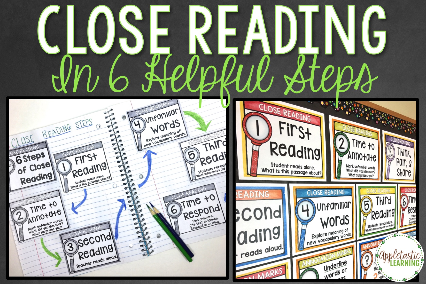 Ready to take Close Reading to the next level in your elementary classroom or homeschool? Then you're going to love these six Close Reading steps! Click through to see what they are and how you can use them with your students for fiction or non-fiction (informational) texts. Your 2nd, 3rd, 4th, 5th, 6th, 7th, and 8th grade students will all benefit from the activities, lessons, and ideas presented here. Click through to get ideas, resources, and more that you can use for a variety of purposes.