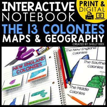 digital and printable interactive notebook for the 13 colonies