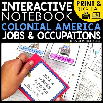 digital and print interactive notebooks for colonial America jobs and occupations