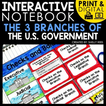 printable and digital interactive notebook for the three branches of government