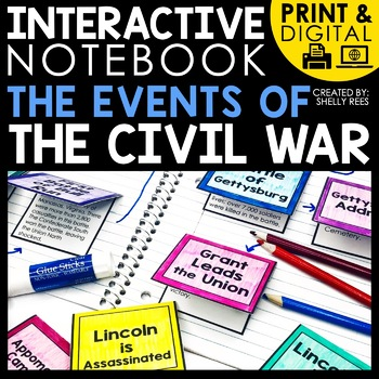 printable and digital interactive notebook for the United States Civil War