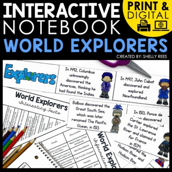 printable and digital interactive notebook for world explorers