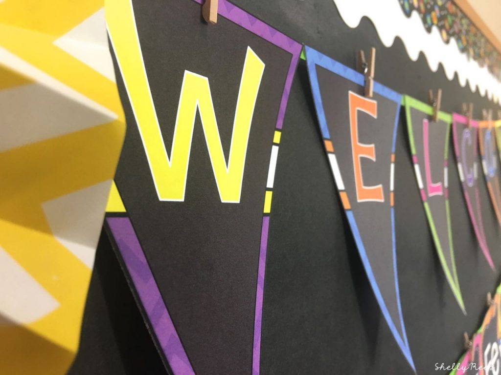 Welcome Banner in the Chalkboard Brights Theme Decor