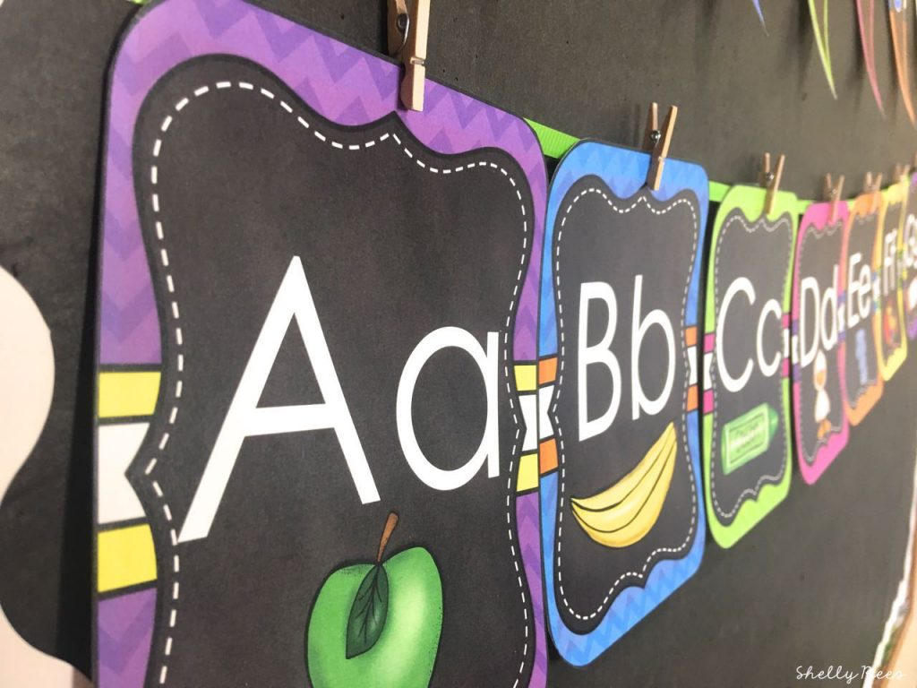 ABC Alphabet Wall in Chalkboard Brights Theme Decor