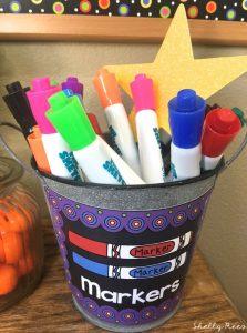 Chalkboard Brights Classroom Theme Markers Bin Label