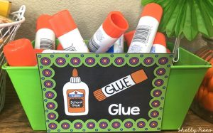 Classroom Brights Glue Stick Bin Label