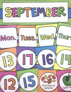 Bright Colors Classroom Decor Calendar