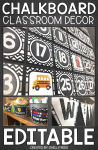 "Example number cards and more with words ""Chalkboard Classroom Decor - EDITABLE"""