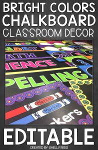 "Example image with ""Bright Colors Chalkboard Classroom Decor - EDITABLE"""