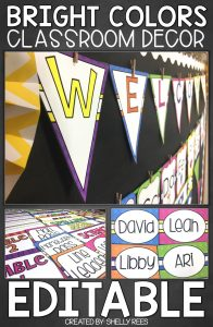 Examples from the Bright Colors Classroom Decor