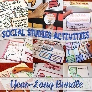 printable and digital interactive notebook bundle for social studies