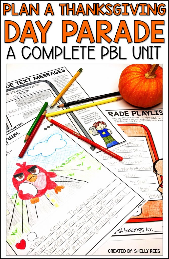 Thanksgiving project based learning is fun for kids in 3rd, 4th grade, and 5th grade with this Plan a Thanksgiving Parade PBL unit! Students love the Thanksgiving math activities, worksheets, writing activities in this project. Look no further for Thanksgiving activities, project, or craft. Your students will plan a parade, using Thanksgiving float ideas. #PBL #projectbasedlearning