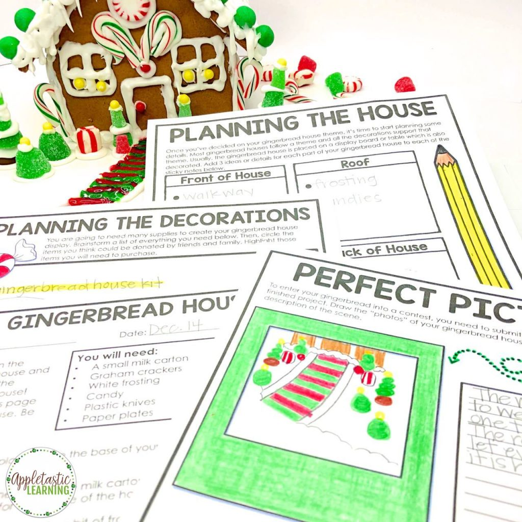 Christmas writing prompts and Christmas math are fun and easy with this awesome Christmas project based learning unit. Use the activities with 4th grade, 5th grade, and middle school students during the holiday season. The worksheets, projects, ideas, and printables in this Design a Gingerbread House unit make the perfect Christmas PBL activities. The finished Christmas writing activity makes a great holiday bulletin board. #pbl #4thgrade #5thgrade