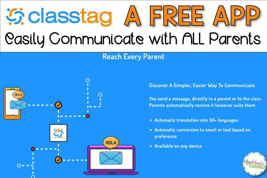 Parent teacher communication apps are a great way to improve parent communication with teachers. ClassTag is my favorite teacher app! Earn teacher freebies and free teacher stuff, plus get ideas for easily scheduling parent teacher conferences, sending home classroom newsletters, and writing parent letters and weekly notes. Even remind parents of open house times. #ClassTag #4thgradeteacher #5thgradeteacher #teacherapps