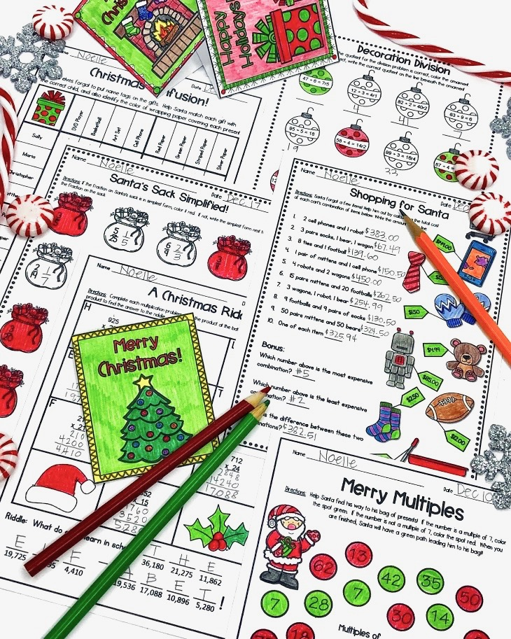 christmas math worksheets for upper elementary classrooms