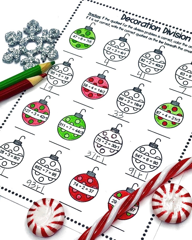 Christmas Math Worksheets for Division