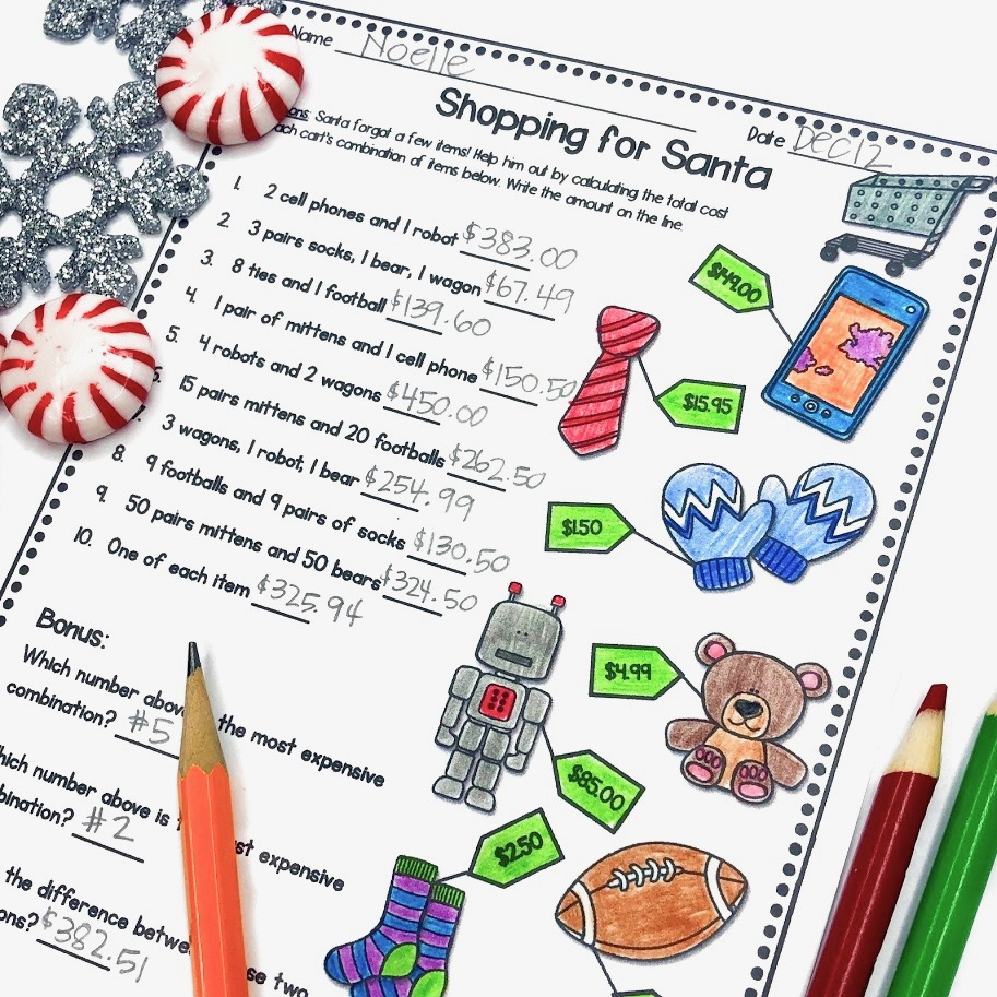 Christmas Math Worksheet Money Practice