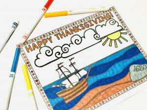 Thanksgiving coloring page Mayflower Plymouth