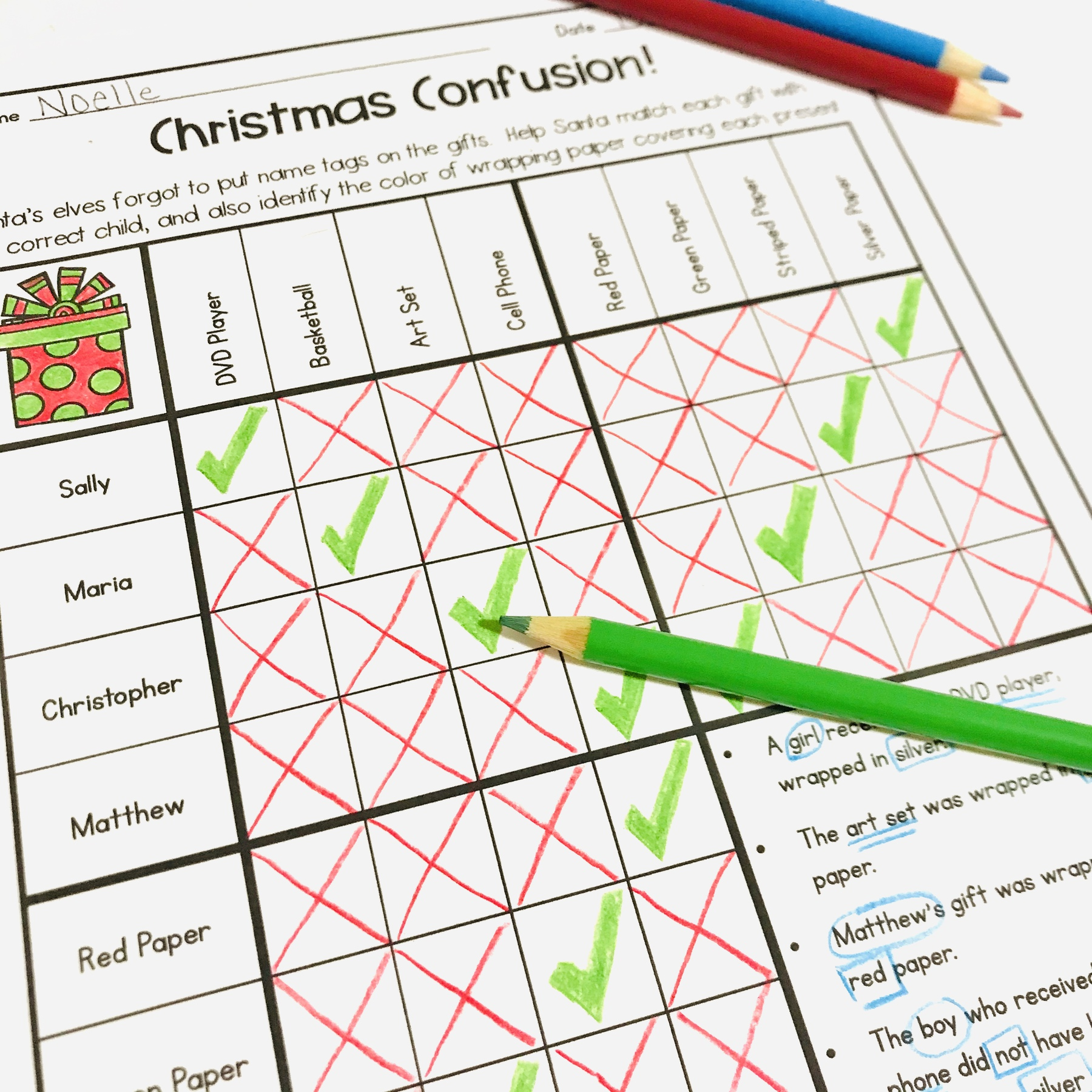 Christmas math worksheet logic puzzle