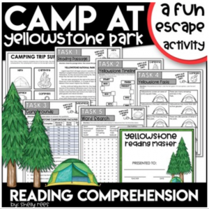Camping Themed Escape Room Activity Reading Comprehension
