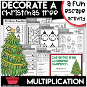 Christmas Escape Room Activity Multiplication
