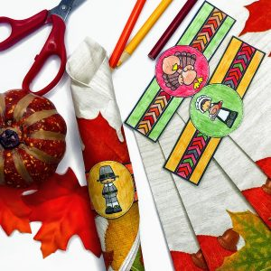 Thanksgiving activities color and cut napkin rings