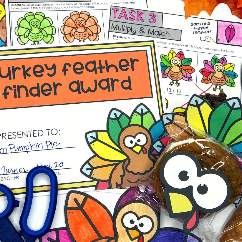 Thanksgiving Escape Room Activity for Multiplication
