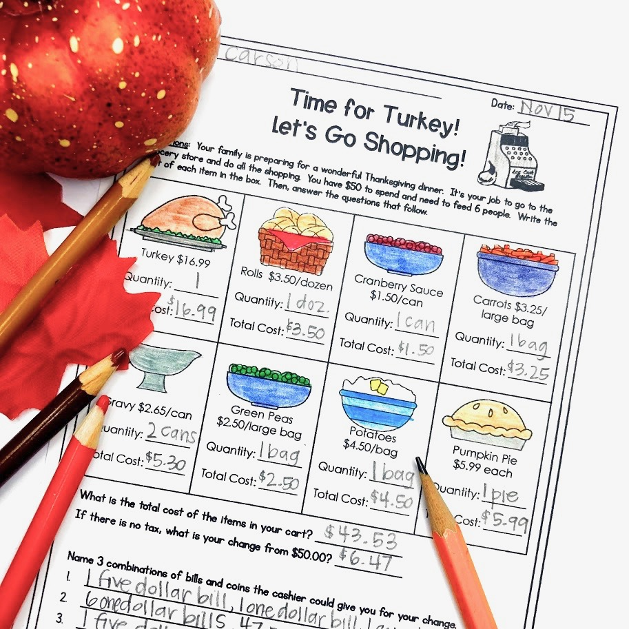 Thanksgiving math printable