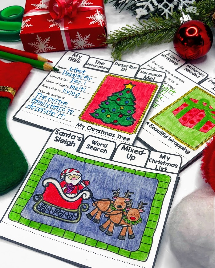 Christmas Writing Activities for Kids Flip Books