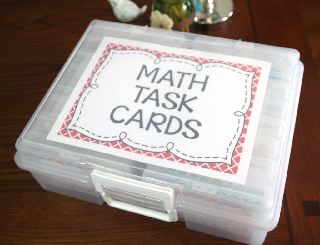 math task card organization box