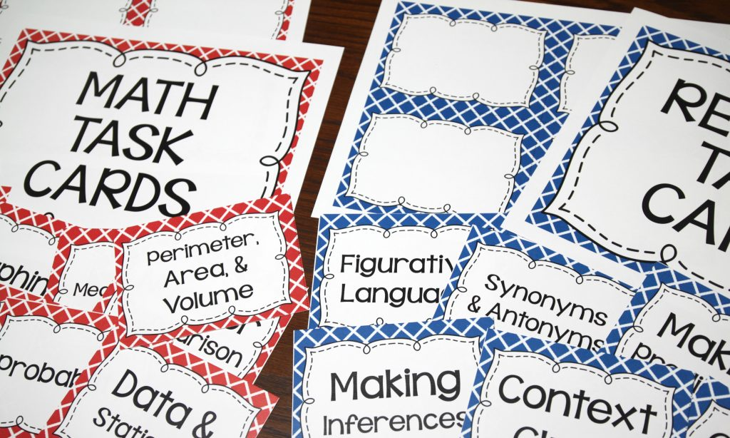 Free Task Card Organization Labels