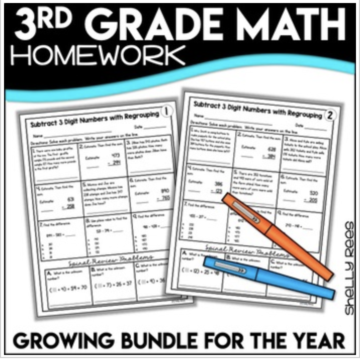 3rd grade math skills printable worksheets